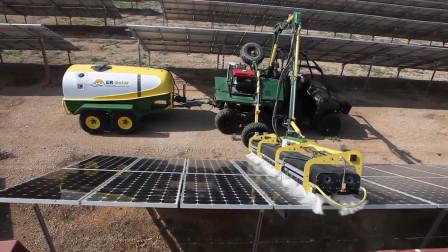 实拍上千亩的太阳能发电厂是怎么清洗电池板的,网友:印度的得累死!