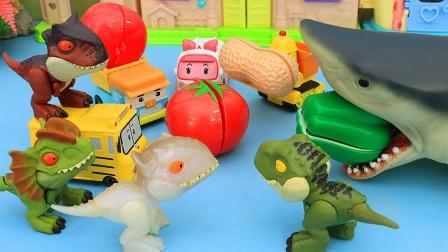 大鲨鱼吃了水果后吐出来好多恐龙玩具