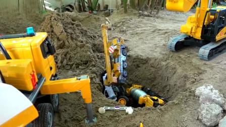 挖掘机动画片,汽车掉进大坑了,出动挖掘机吊车消防车紧急救援。