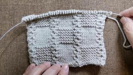 竖条纹方块花编织视频教程,适合织各种中性款式的毛衣,新手易学