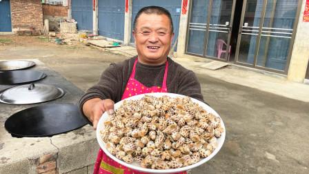 阿胖山花540买8斤花螺,倒入50斤粗盐做盐焗螺,出锅全家抢着吃