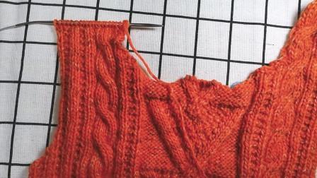 女士背心前片左边圆领收针的方法教程,适合织圆领款式的棒针毛衣