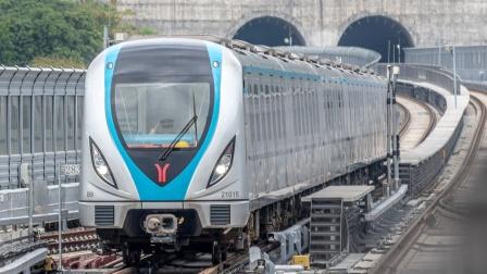 【雨天拍车】广州地铁21号线B8型电客车金坑站1站台上行出站(中车时代电机牵引系统)