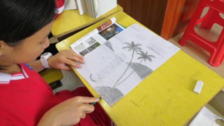 儋州二中初一(7)班第一节美术课《画家乡的风景》学习剪影