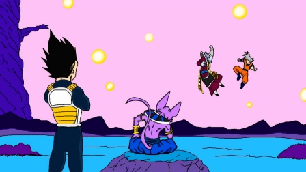 简易龙珠同人动画,自在极意悟空VS维斯,变强没有极限