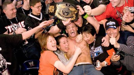 摔角狂热21约翰塞纳首夺WWE冠军,赛后场边女粉丝疯狂尖叫!