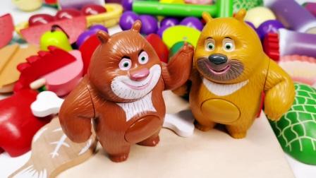 熊大熊二复原各种水果蔬菜切切乐玩具 厨房过家家套装玩具