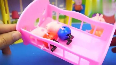 益智早教,小猪乔治睡着了,猪妈妈把他放在摇篮床上