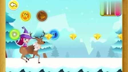 宝宝巴士:娜娜救助了一只麋鹿,麋鹿带领她飞快的在雪地里奔跑
