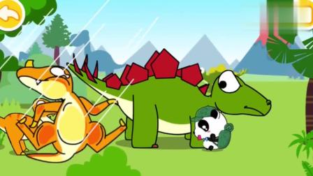 宝宝巴士:奇奇被小恐龙追着跑,剑龙用尾巴把他们赶跑