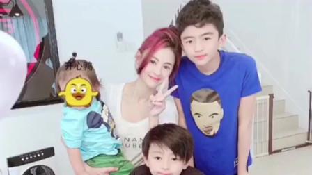 张柏芝的小儿子金色头发,好像混血宝宝有没有?