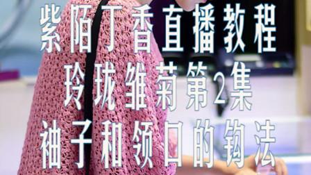 玲珑雏菊2,腋下加针,袖子及领口钩法,钩针阔版连衣裙,紫陌丁香直播回放教程