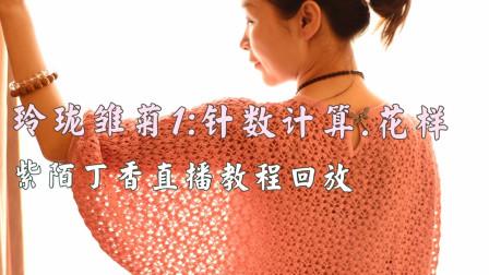 玲珑雏菊1,钩针阔版裙子,针数计算花样钩法,紫陌丁香直播回放教程