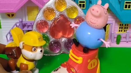 猪爸爸刚坐上车,小砾就来了,小砾找的就是猪爸爸