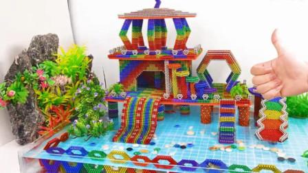 彩色磁力小球拼装小动物游乐园