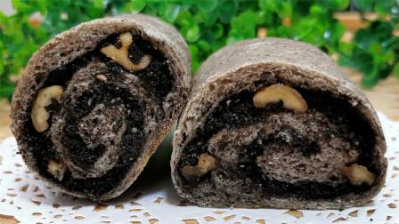 不用揉面做面包,好吃好做松软香甜,加了黑芝麻营养又健康