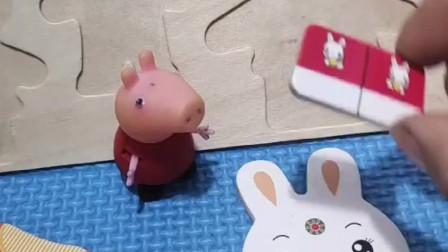 小猪佩奇拼了两只小兔子,乔治发现大鳄鱼,找佩奇帮忙