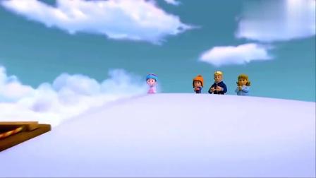 亲子动漫少儿益智动画,滑雪场出现熊,莱德让珠珠追踪熊
