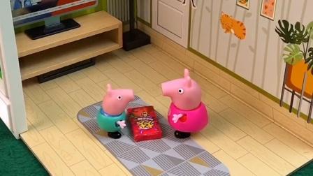 小猪乔治不想打零分,就和佩奇一起分享吃的,你们会给乔治打多少分呢