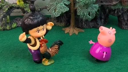 嘟嘟实在是太无聊了,在外面和大公鸡玩耍,真是太有意思了