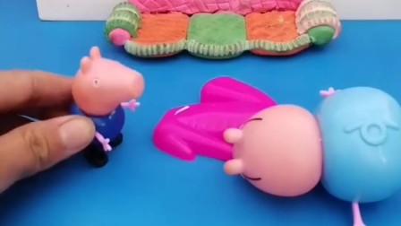 猪爸爸又想骗鸡腿吃,还假装自己受伤了,乔治能相信吗?