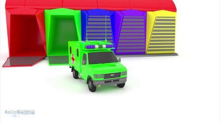 早教动画:玩具车辆从车库里面出来玩耍