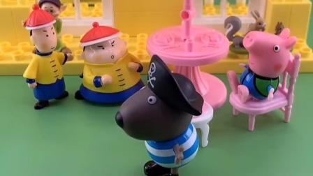 外面刮风了,乔治想去海盗家躲一会儿,海盗会让他进去吗