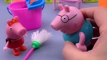 乔治让佩奇擦地,佩奇让猪爸爸擦地,猪爸爸却不能让妈妈擦