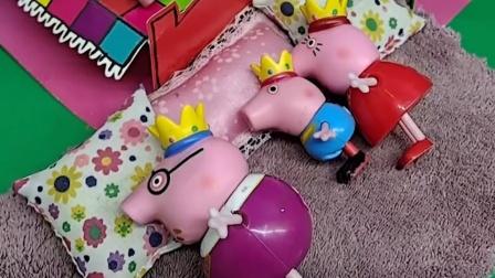 猪妈妈刚把小乔治哄睡着,猪爸爸就打呼噜,吵醒了乔治