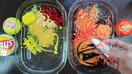 黄VS橘色彩妆亮片、闪粉、史莱姆给透泰染色,减压