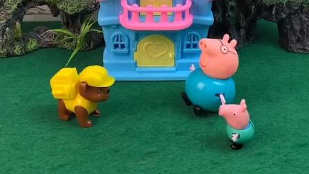 怪兽出来打劫了,猪爸爸和乔治根本没理会怪兽,怪兽被气到了
