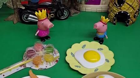 乔治要吃风车糖、小笼包和大鸡腿,佩奇劝他少吃点,乔治不听