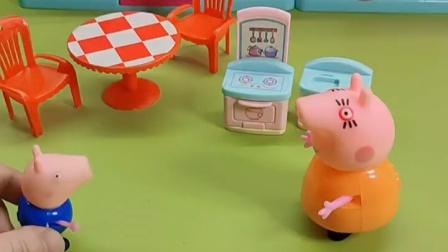 猪爸爸心里不平衡,猪妈妈对乔治很温柔,对他可不是这样