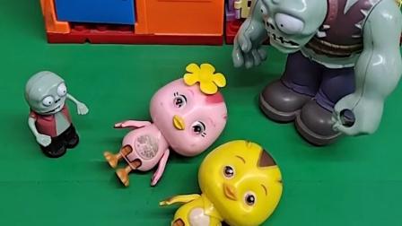 巨人僵尸抓了朵朵和麦奇,让小鬼看着他们,小鬼趁爸爸睡觉放了他们