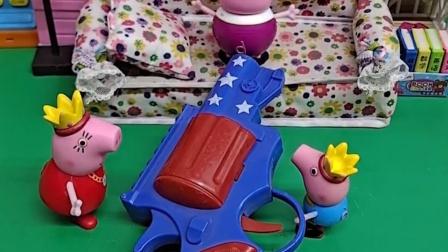猪妈妈给乔治买了新玩具,乔治拿来逗爸爸,猪爸爸吓得说出藏私房钱