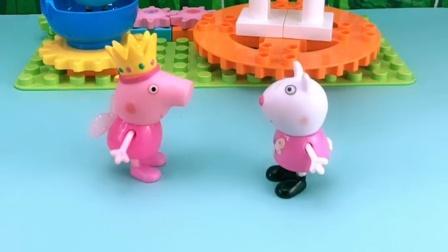 苏西和佩奇闹别扭了,聪明的乔治,又让她们重新合好了