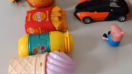 乔治看见小鬼有很多玩具,乔治想要玩,小鬼不让乔治玩