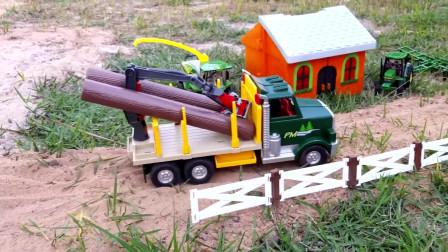 抓铲吊车装原木,自卸车拉泥土,儿童玩具
