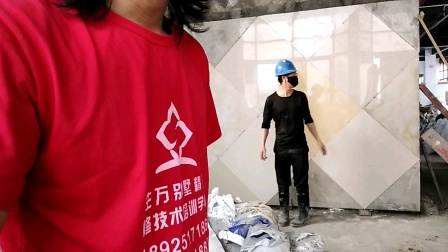 湖南瓦工培训学员李师傅一天学会补贴电视背景墙贴瓷砖培训课程验收合格