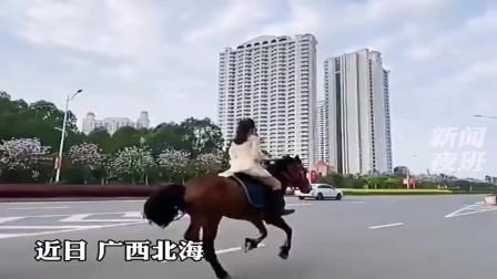 美女骑马在街上穿梭,被市民举报,结果被教育了!