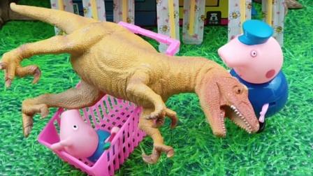 猪爷爷带乔治去超市,乔治想要恐龙,猪爷爷就去给他买