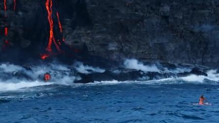 小伙去火山口泡温泉,还有心情自拍,外国人少是有原因的!