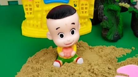 佩奇挖出一个糖,小砾也挖出一个,大头能不能挖出来糖果呢?