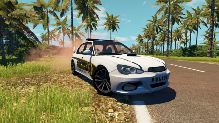 BeamNG:警车追击嫌疑车辆,车速飙到200KM都没追上
