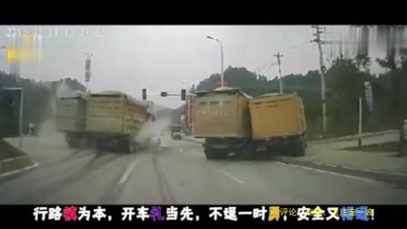行车记录仪:大货车拼死踩下刹车,还是没能避免撞向挡路轿车