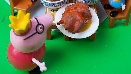 猪爸爸下班回来,怪家人不等自己就吃饭了,结果家里还有个猪爸爸