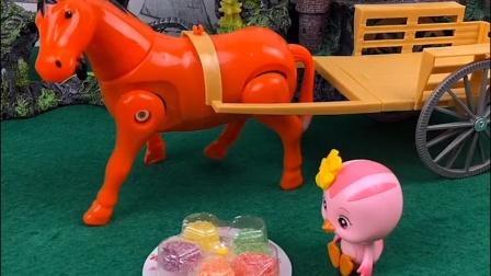 朵朵请小马吃糖,小马不吃,鸡妈妈告诉她小马吃青草