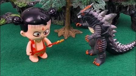怪兽出来找吃的,说看到谁就抓谁,结果看到哪吒不敢抓