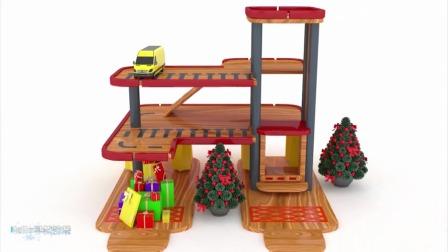 早教动画:让玩具车辆都停放在架子上面