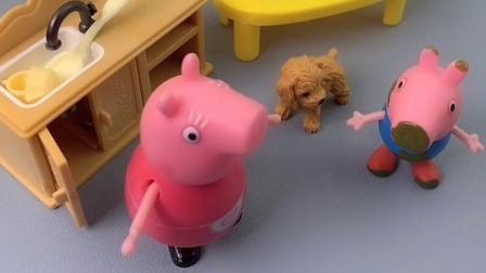 猪妈妈给狗狗的吃的,都被乔治拿走了,猪妈妈非常生气